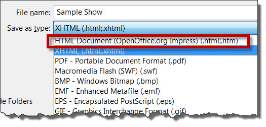 OpenOffice Impress HTML option