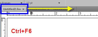 Adobe FrameMaker 9 Scroll TABS Forward HOTKEYS