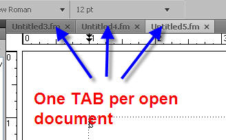 A FrameMaker 9 Shortcut to Scroll from one Document TAB to Another