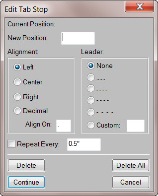 FrameMaker 9 Edit Tab Stop dialog box
