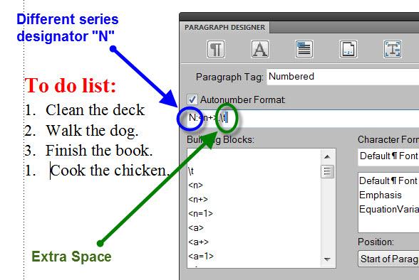 FrameMaker 9 Misaligned List - SERIES DESIGNATOR