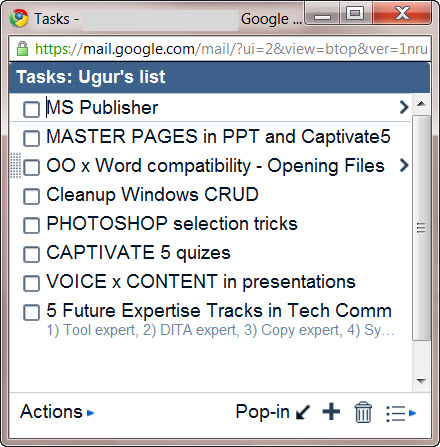Google Tasks 3 - pop-out
