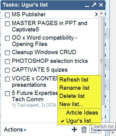 Google Tasks 4 - Switch List