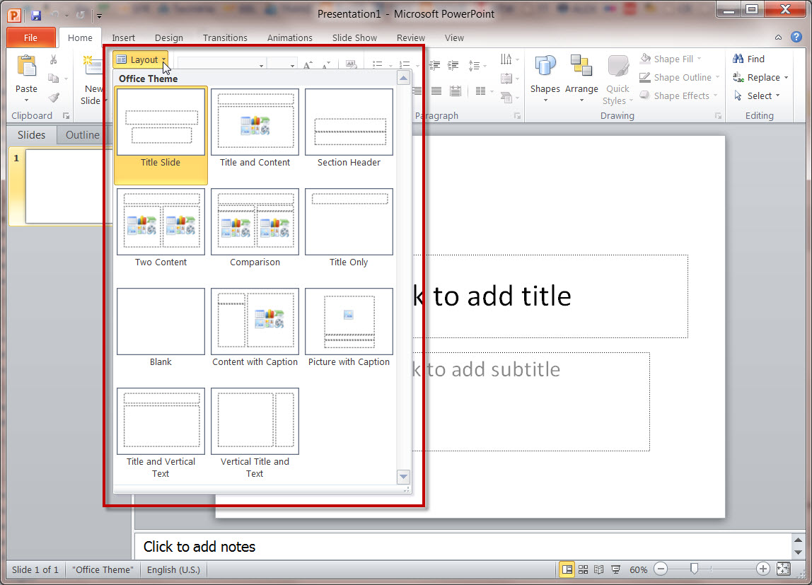 How master slides work in a ms powerpoint 2010 presentation ms powerpoint 2010 brand new project default master slide toneelgroepblik Image collections
