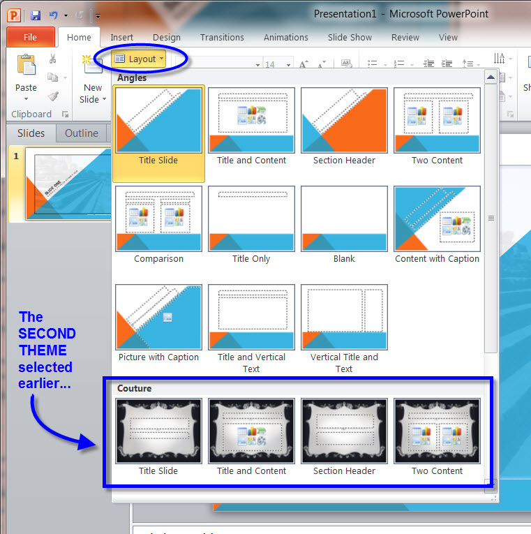 MS PowerPoint 2010 MASTER SLIDE LAYOUT OPTIONS