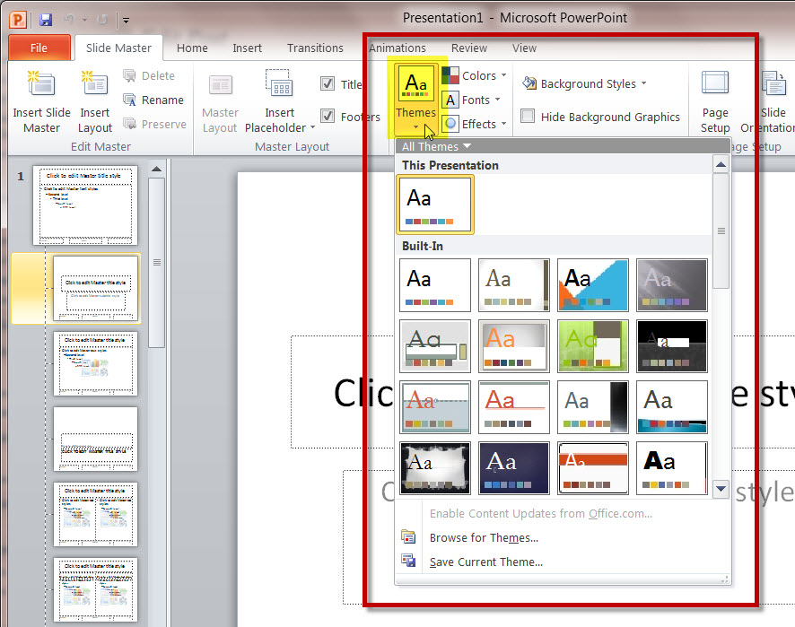 how master slides work in a ms powerpoint 2010