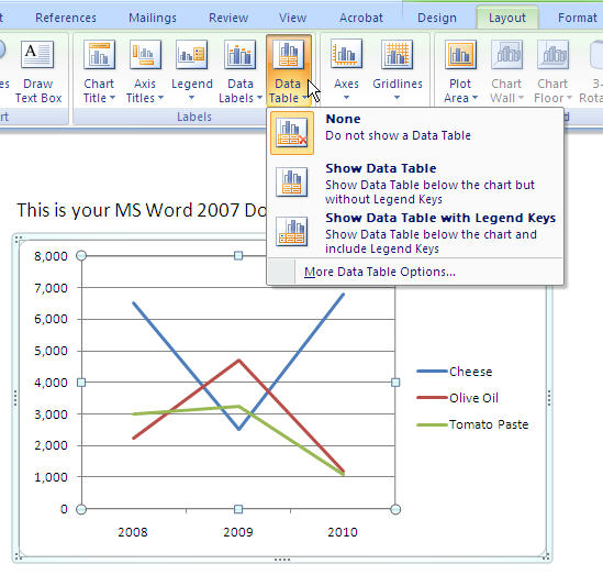 MS Word 2007 Chart - DATA TABLE Options