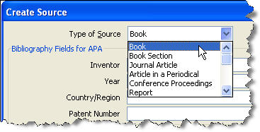 MS Word 2007 Citation Type of Source