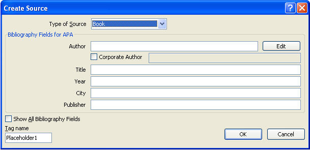MS Word 2007 Create Bibliographical Citation