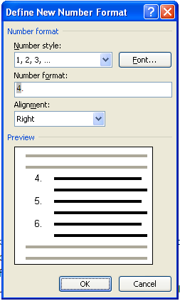 MS Word 2007 Numbered List DEFINE NEW FORMAT
