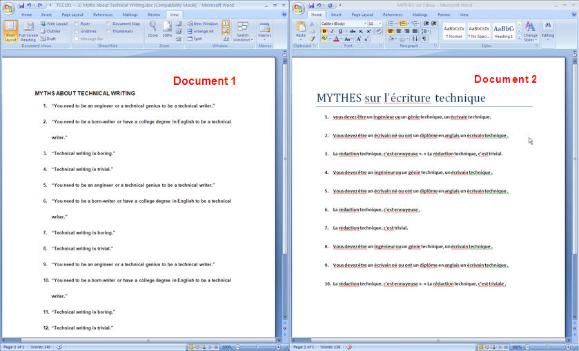 MS Word 2007 View Side by Side 2