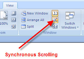 MS Word 2007 View Side by Side Synchronous Scrolling