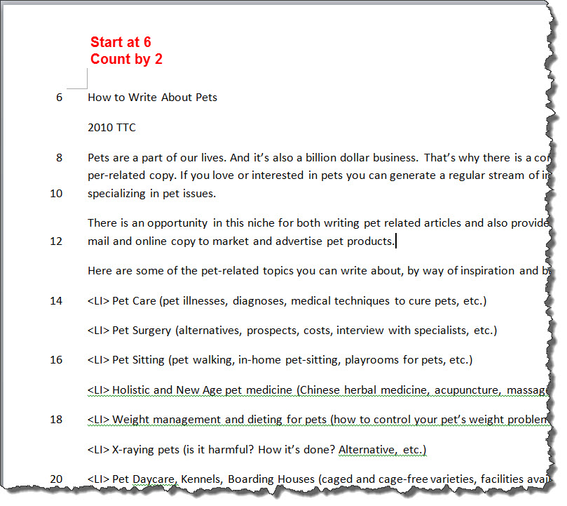 MS Word 2010 CUSTOM Line Numbering  6-2