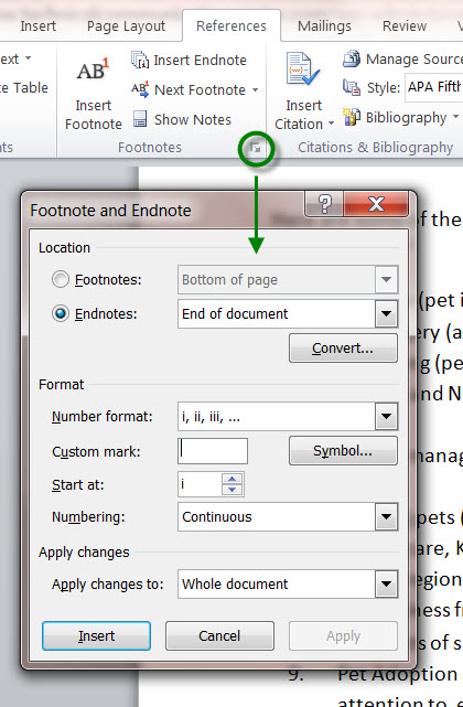 MS Word 2010 Footnote and Endnote DIALOG BOX