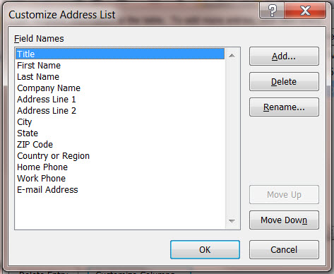 MS Word 2010 Mail Merge Customize Address List