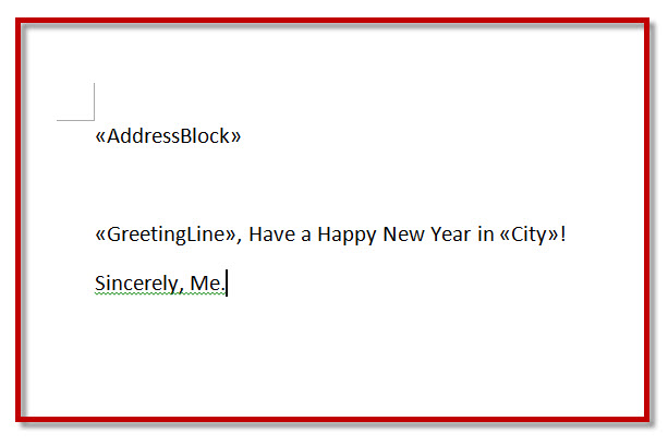 MS Word 2010 Mail Merge FINISHED LETTER