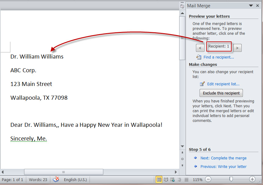 How To Create Merged Letters With MS Word 2010 S Mail Merge Wizard