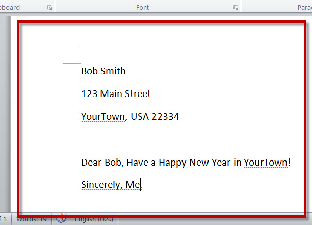 MS Word 2010 Mail Merge Sample Letter