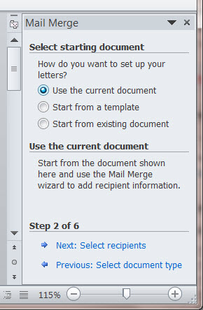 MS Word 2010 Mail Merge Side Bar, Step 2