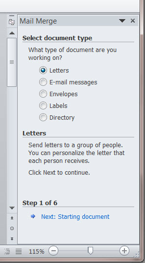 MS Word 2010 Mail Merge Side Bar