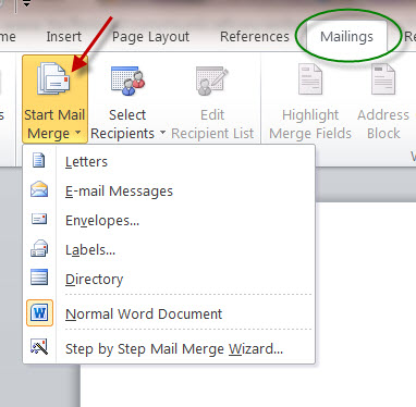MS Word 2010 Mail Merge Wizard