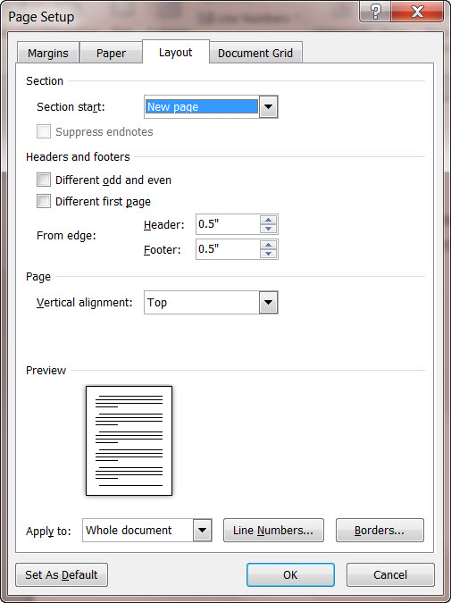 MS Word 2010 Page Setup Dialog Box LAYOUT TAB
