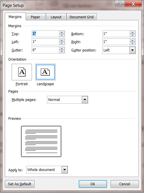 MS Word 2010 Page Setup Dialog Box
