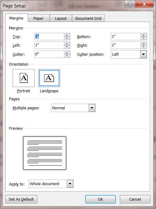 MS Word 2010 Page Setup Dialog Box