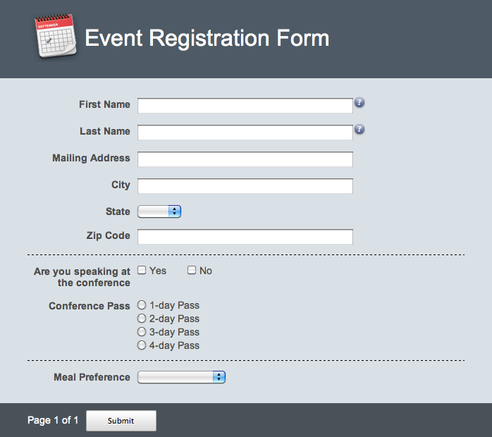 Online form date