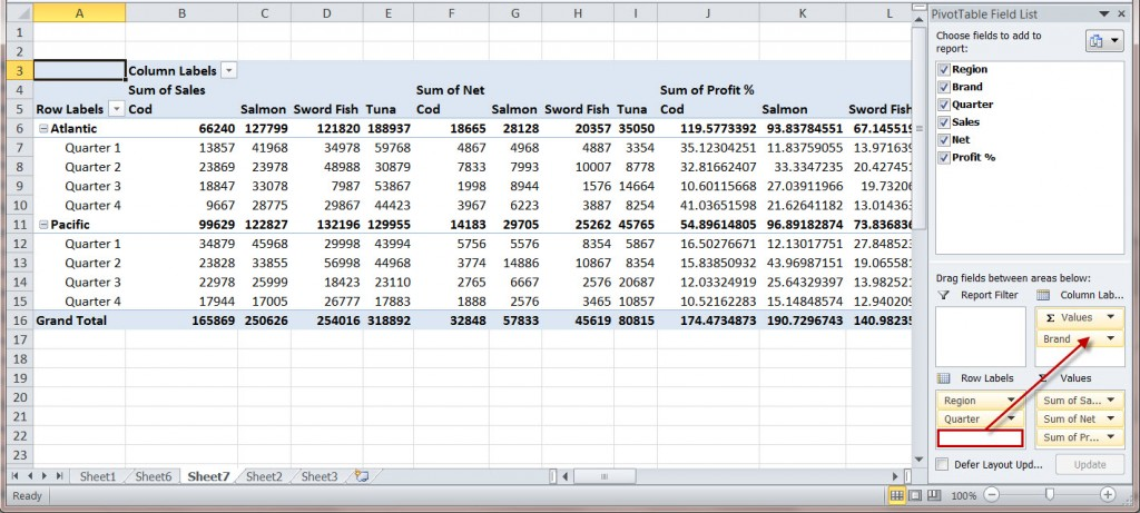 how to create a ms excel 2010 pivot table an introduction