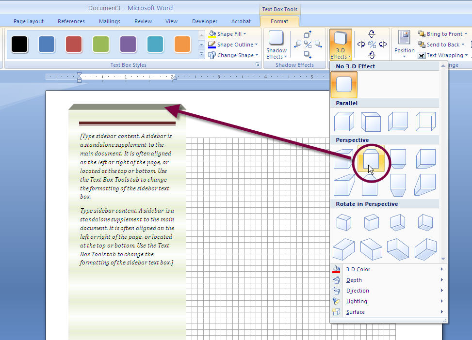 MS Word 2007 SIDEBAR Text Box 3 PERSPECTIVE