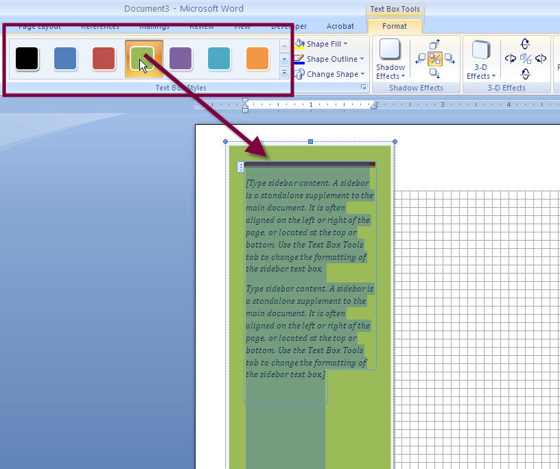 MS Word 2007 2010 SIDEBAR Text Box 4 COLOR