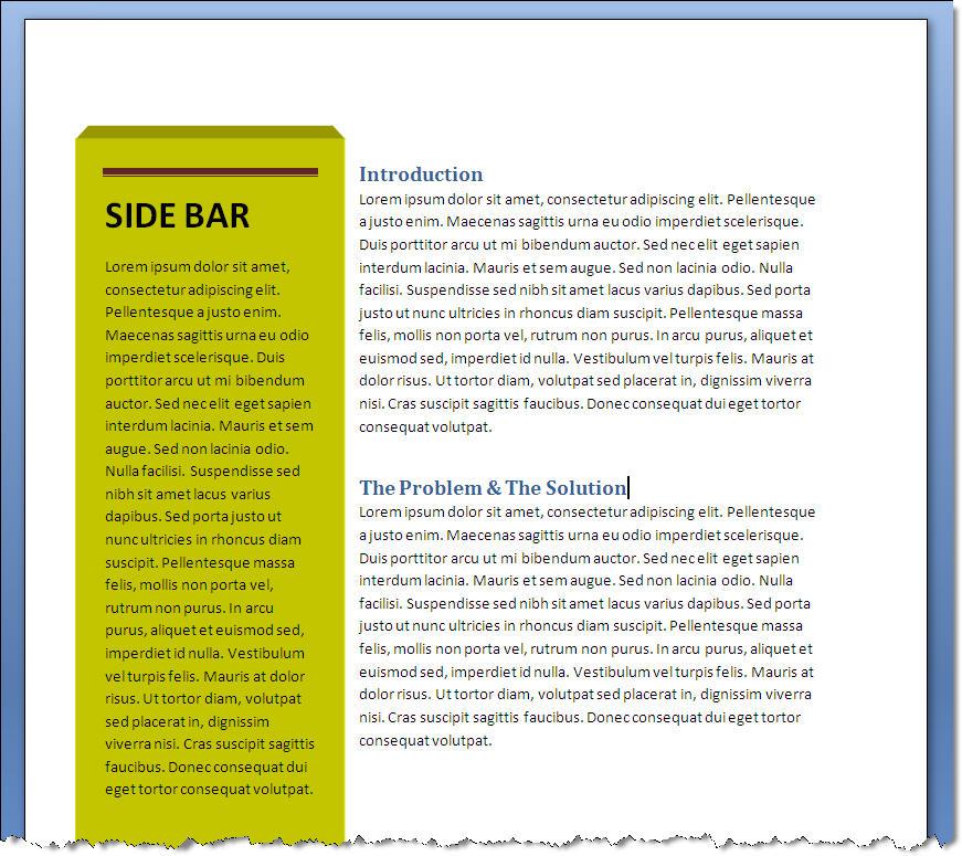 MS Word 2007 Word 2010 SIDEBAR Text Box 5