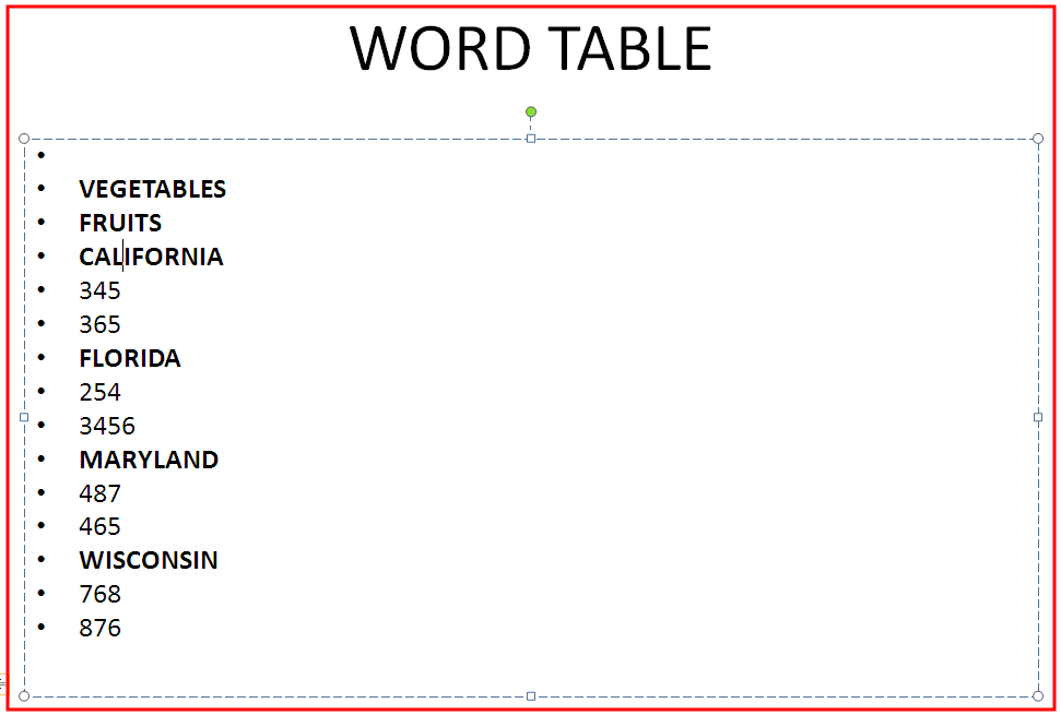 MS Word 2007 Table 2