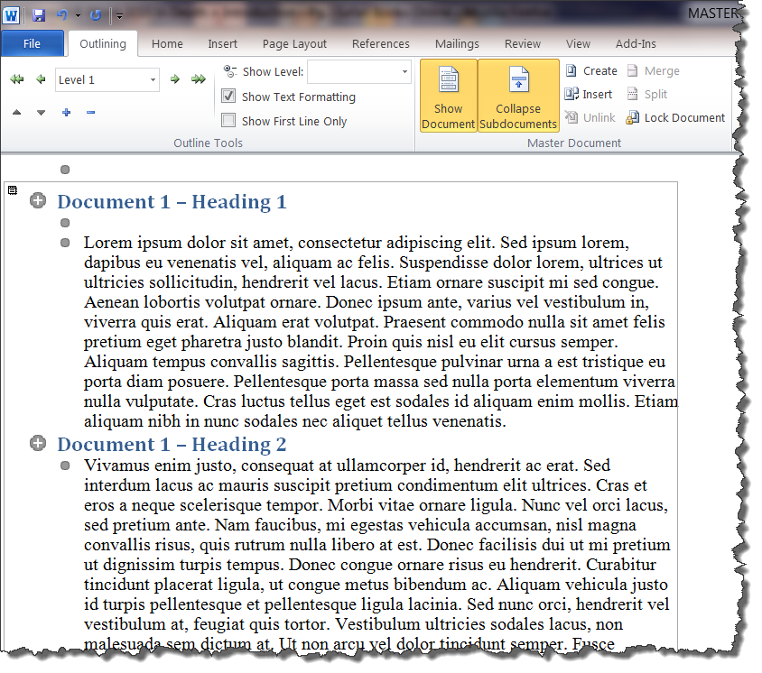 MS Word 2010 Document 1 in Master Document