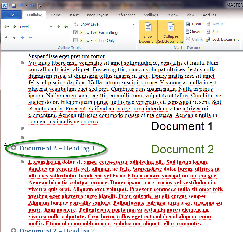 MS Word 2010 Document 2 in Master Document
