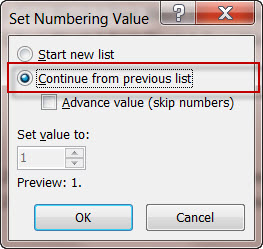 MS Word 2010 Numbered List Across Text Blocks 2