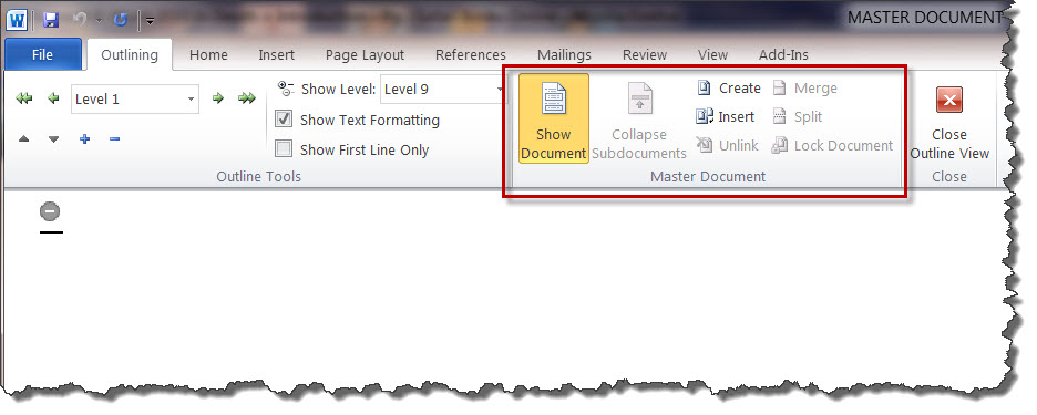 MS Word 2010 Outlining - Show Document