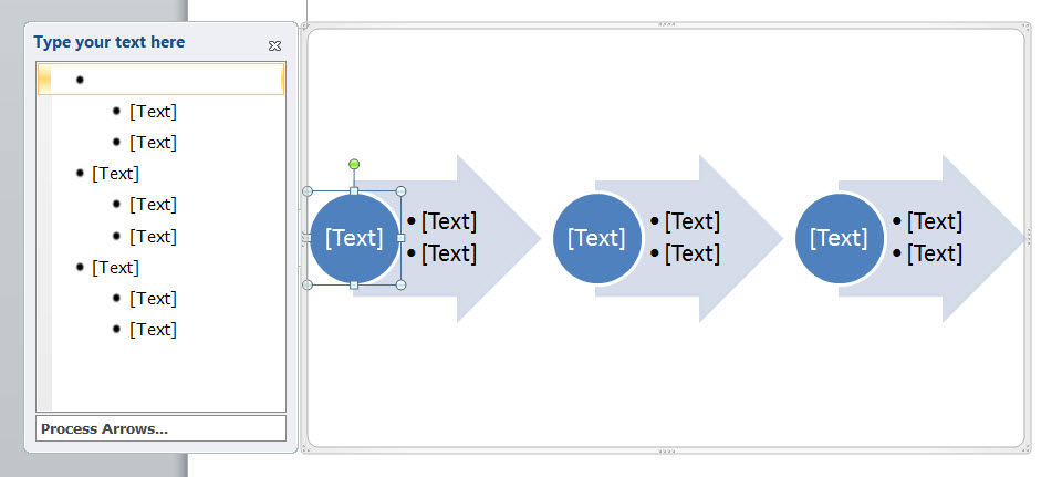 MS Word 2010 Process Arrows
