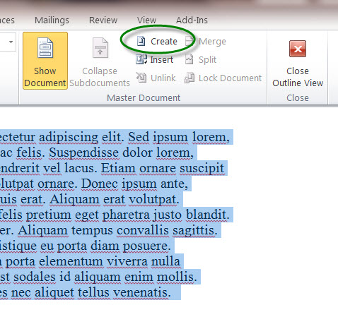 MS Word 2010 Sample Document - CREATE Button