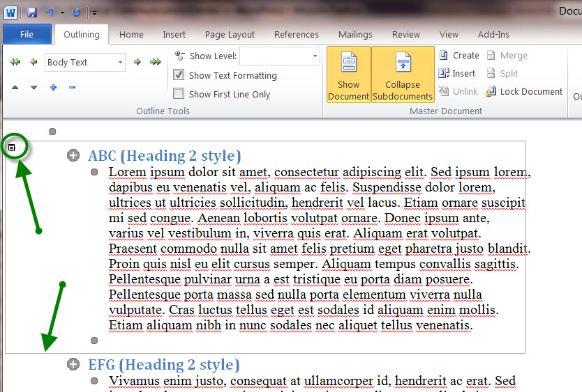 MS Word 2010 Sample Document - FRAME