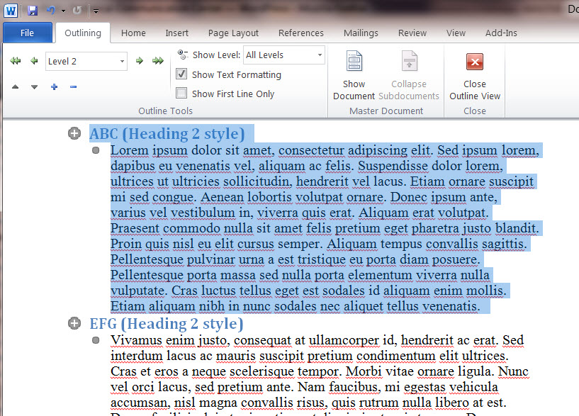 MS Word 2010 Sample Document - Heading Selected