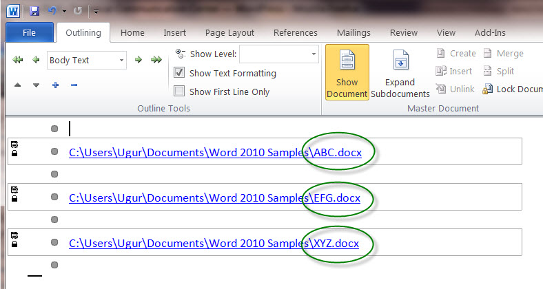 MS Word 2010 Sample Document - URLs