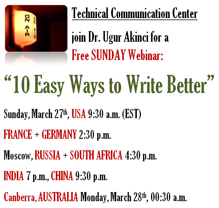 "Free SUNDAY Webinar: ""10 Easy Ways to Write Better"""