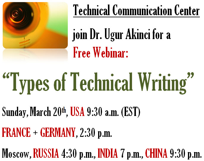 "Free Webinar: ""Types of Technical Writing"" SUNDAY 20th, 9:30 a.m. EST"