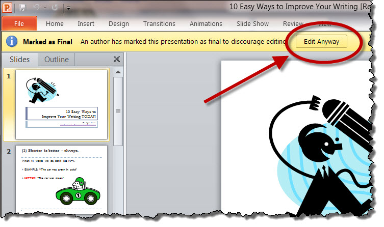 "How to Use ""Edit Anyway"" Button in MS PowerPoint"