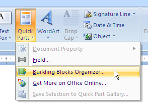 MS Word 2007 Word 2010 Building Blocks Organizer