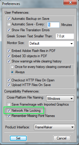 FrameMaker Preferences Dialog Box