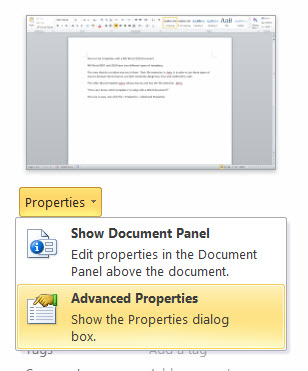 MS Word 2010 Advanced Properties