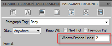 Adobe FrameMaker Widow and Orphan Control